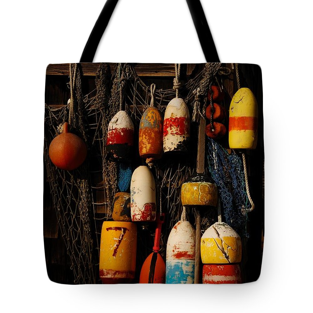 Rockport Tote Bag featuring the photograph Buoys On Fishing Shack - Greeting Card by Mark Valentine