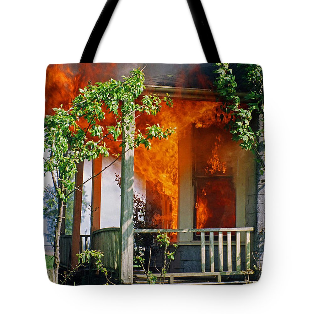 Fire Tote Bag featuring the photograph Burning House by Randy Harris