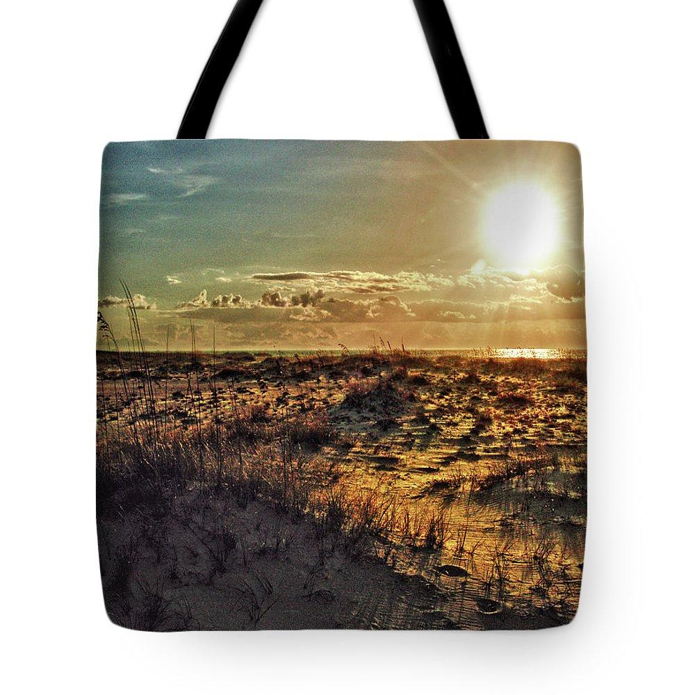 Alabama Photographer Tote Bag featuring the digital art Burnt Orange Sunrise by Michael Thomas