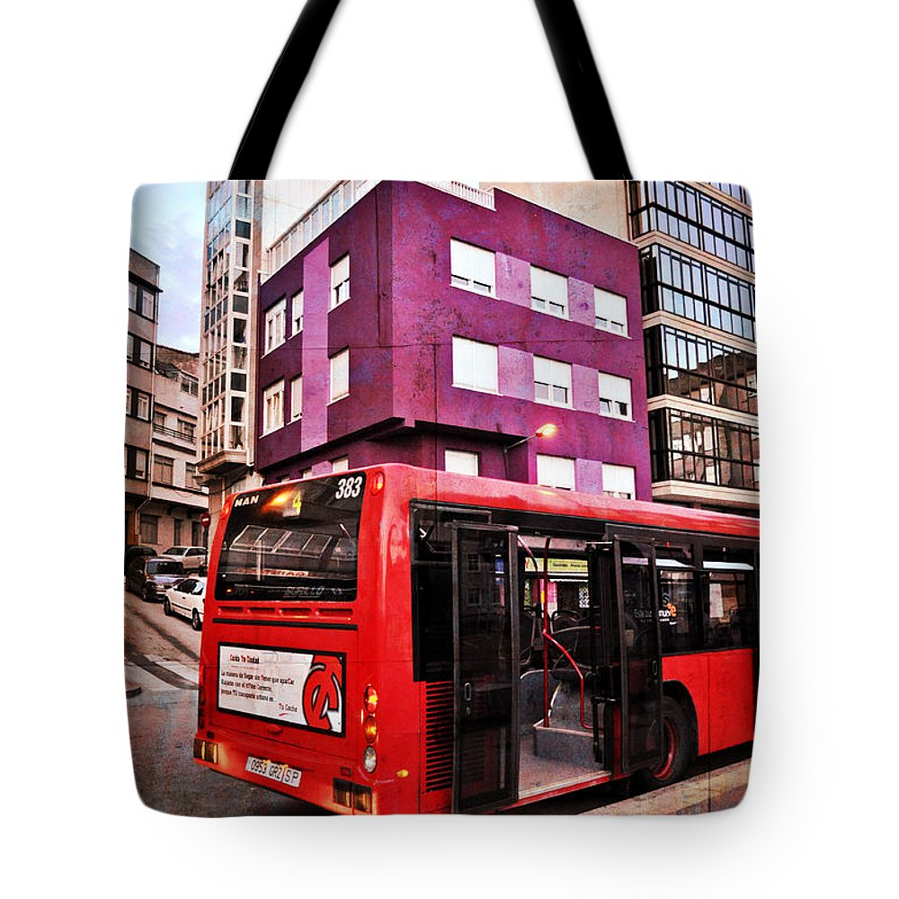 Bus Stop Tote Bag featuring the photograph Bus Stop - La Coruna by Mary Machare