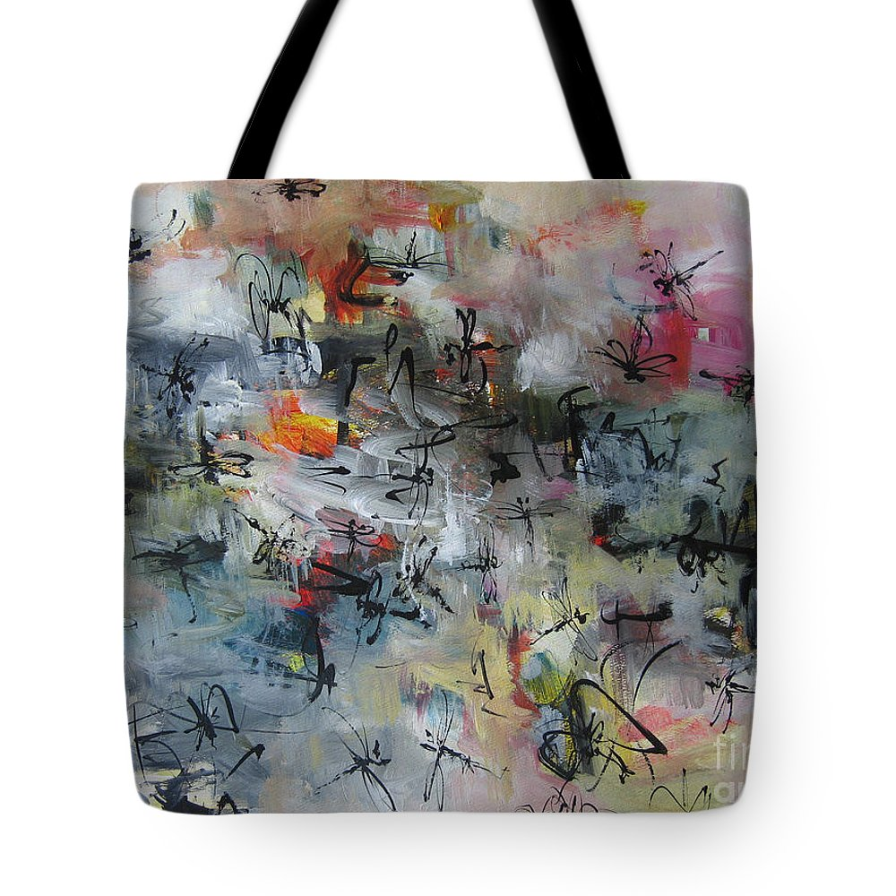 Drangonfly Paintings Tote Bag featuring the painting Butterfly And Dragonfly Paintings by Seon-Jeong Kim