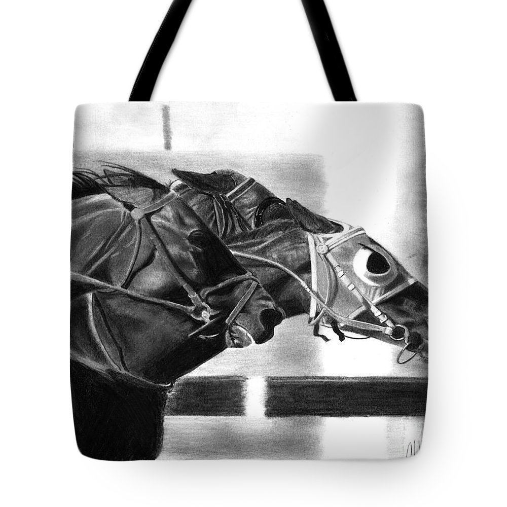 Horse Tote Bag featuring the drawing By A Nose by Christian Conner