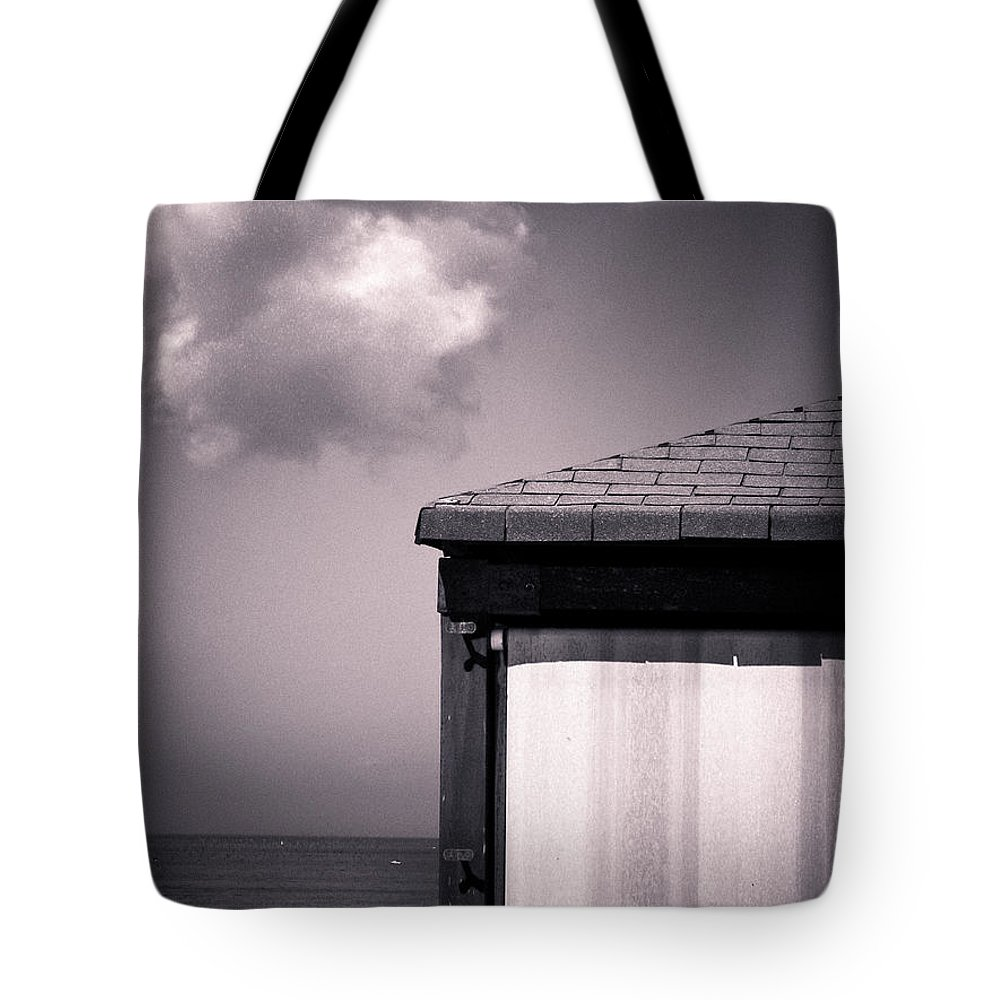 Black And White Tote Bag featuring the photograph Cabin With Cloud by Silvia Ganora