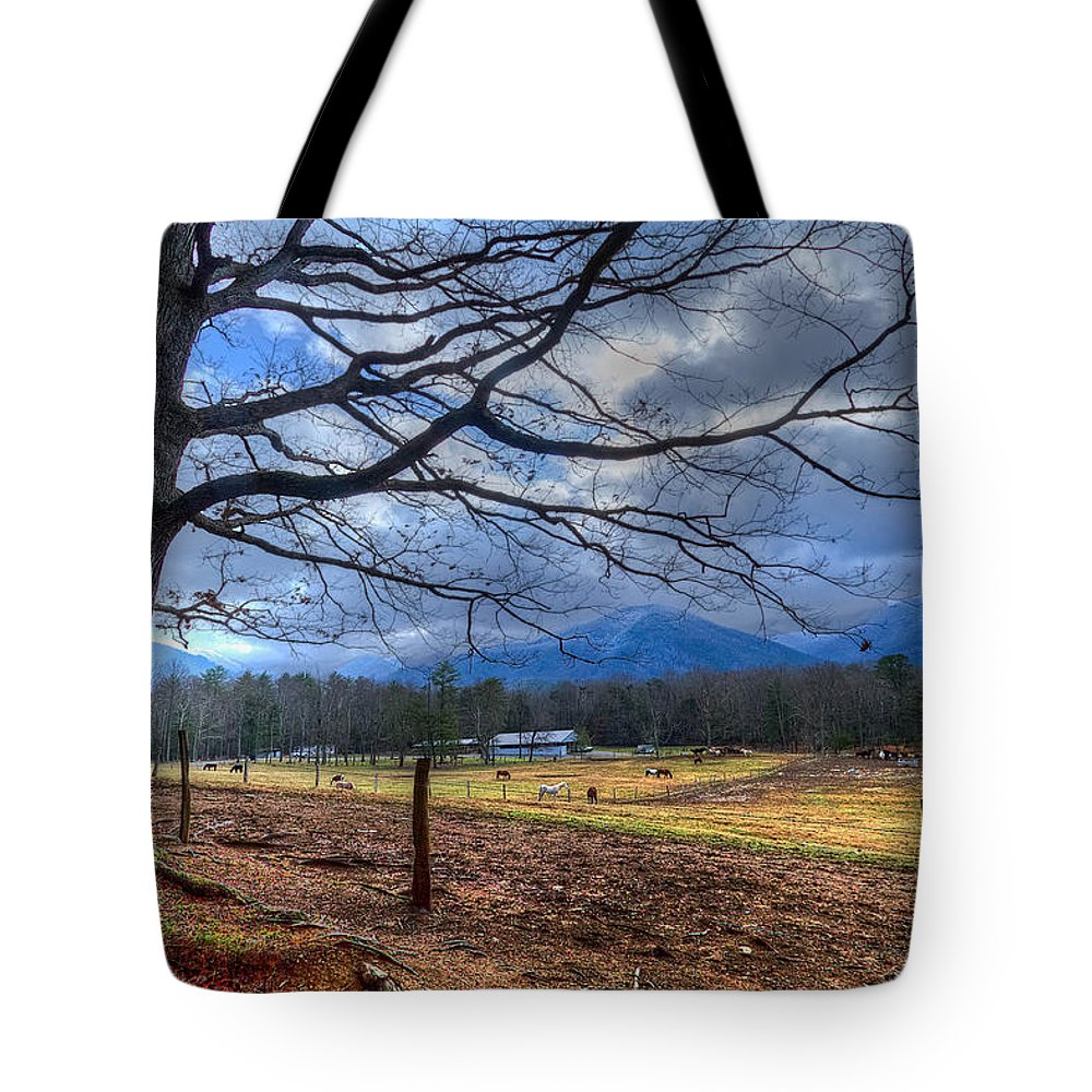 Appalachia Tote Bag featuring the photograph Cades Cove Lane by Debra and Dave Vanderlaan