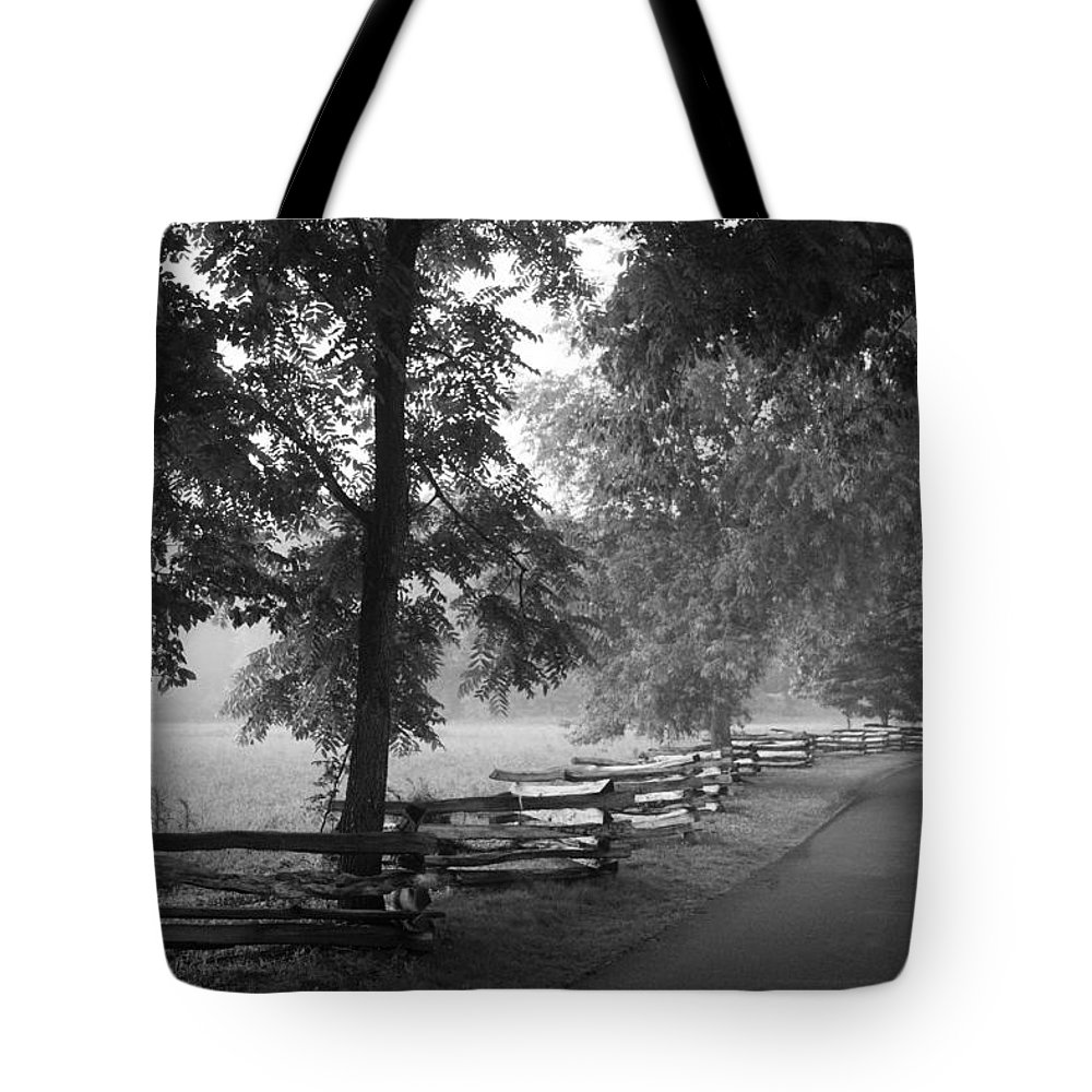 Cades Cover Tote Bag featuring the photograph Cades Cove Tennessee In Black And White by Kathy Clark