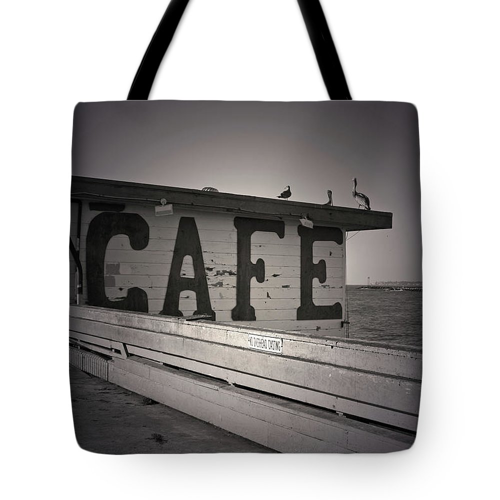 Cafe Tote Bag featuring the photograph Cafe On The Pier by Kelly Holm