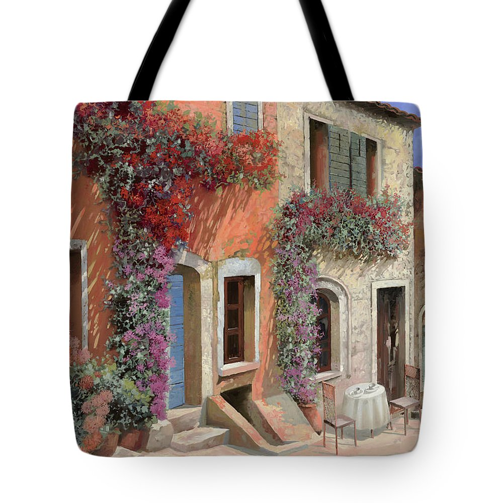 Caffe Tote Bag featuring the painting Caffe Sulla Discesa by Guido Borelli