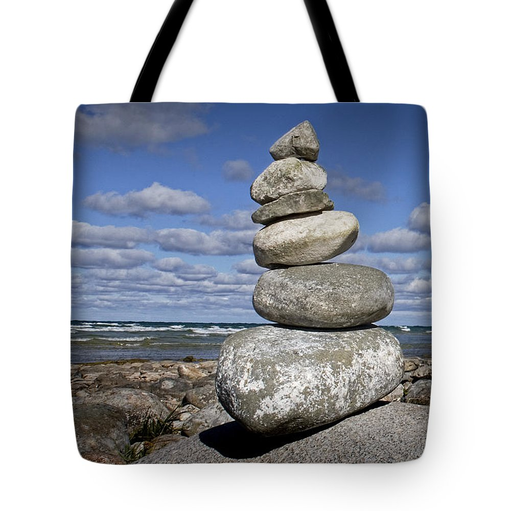 Art Tote Bag featuring the photograph Cairn At North Point On Leelanau Peninsula In Michigan by Randall Nyhof