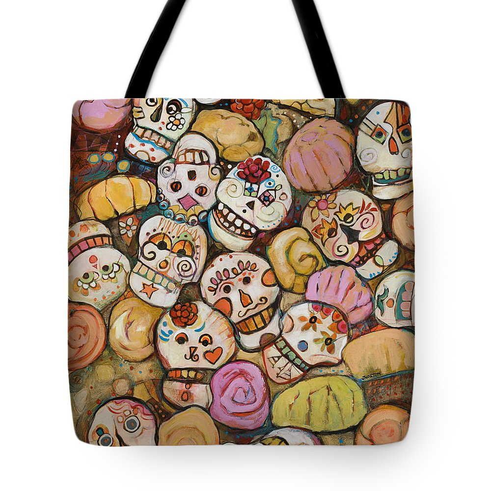 Jen Norton Tote Bag featuring the painting Calaveras Azucar Y Pan Dulce by Jen  Norton 7d5f4d7bb0ec6