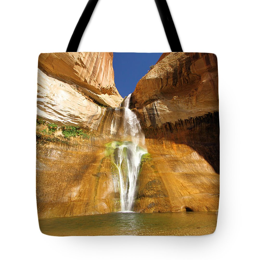 Grand Staircase Escalante Tote Bag featuring the photograph Calf Creek Falls by Adam Jewell