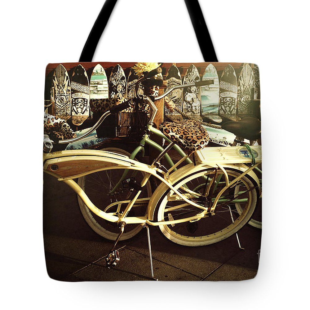 California Beach Bikes And Skateboards Tote Bag featuring the photograph California Beach Bikes And Skateboards by Nina Prommer