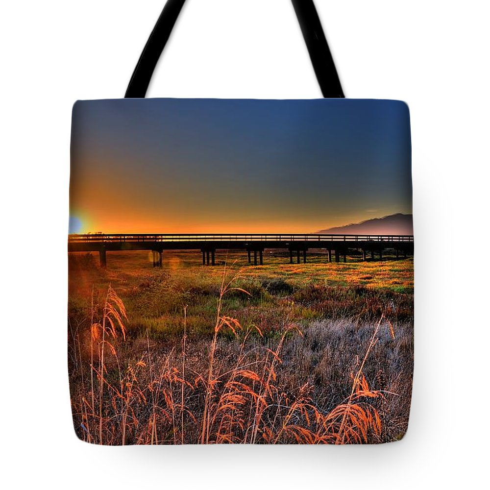 Sunset Tote Bag featuring the photograph California Sunset by Marta Cavazos-Hernandez