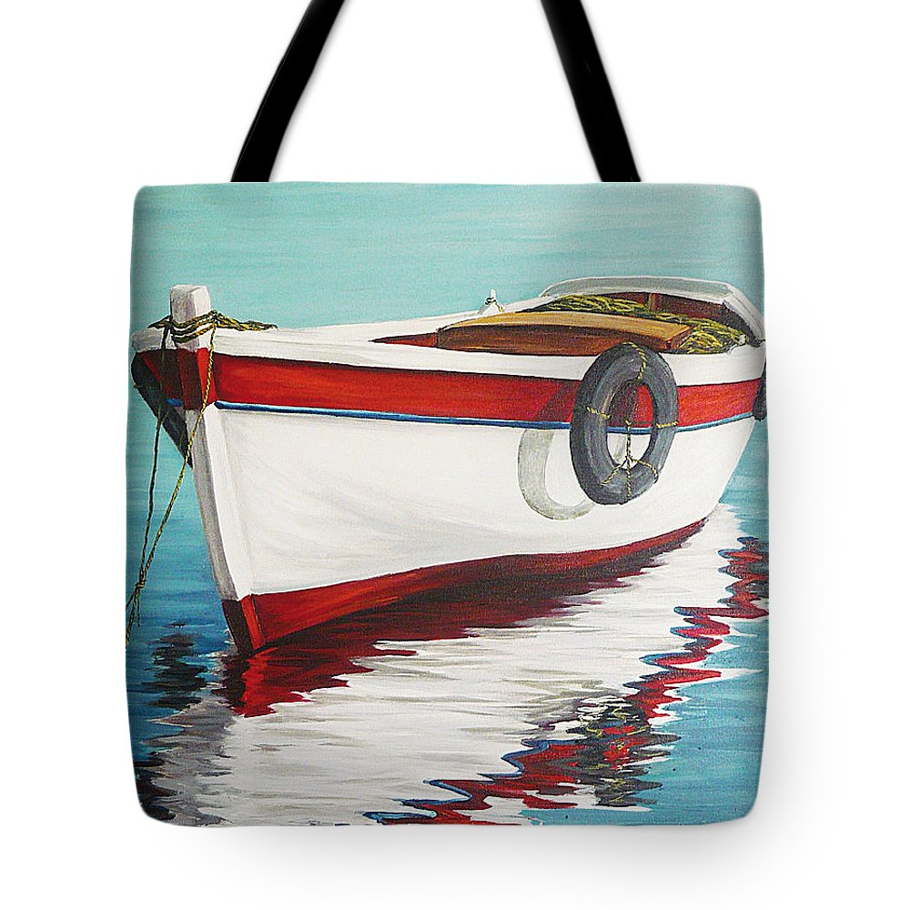 Seascape Tote Bag featuring the painting Calm Sea by Natalia Tejera