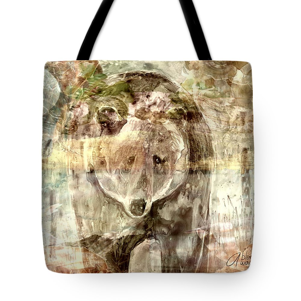 Bear Tote Bag featuring the digital art Camouflaged Bear by Arline Wagner