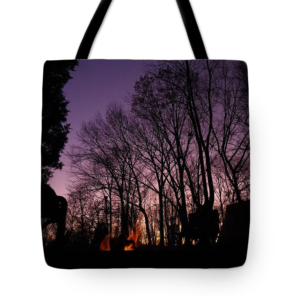 Purple Tote Bag featuring the photograph Camp Fire Sunset by Charleen Treasures