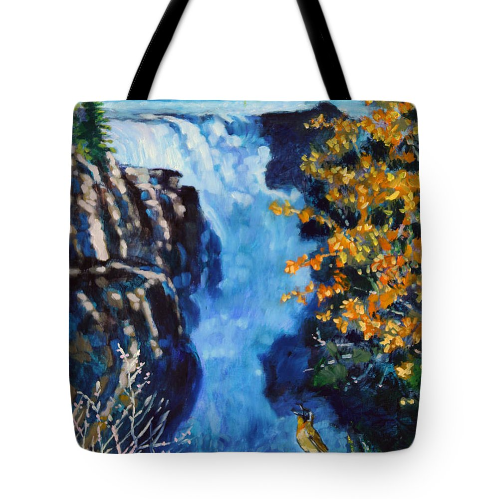 Mountain Waterfall Tote Bag featuring the painting Can You Hear Me by John Lautermilch