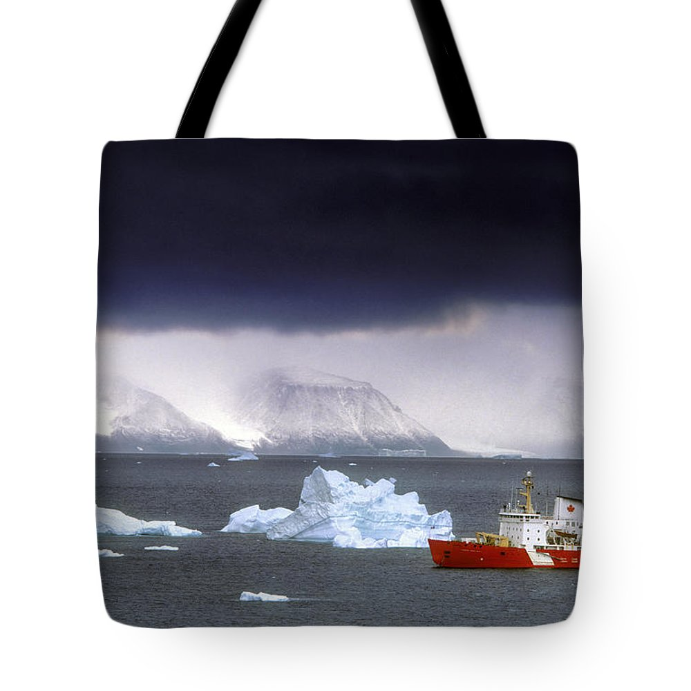 Colour Image Tote Bag featuring the photograph Canadian Coastguard Icebreaker Visiting by Jerry Kobalenko