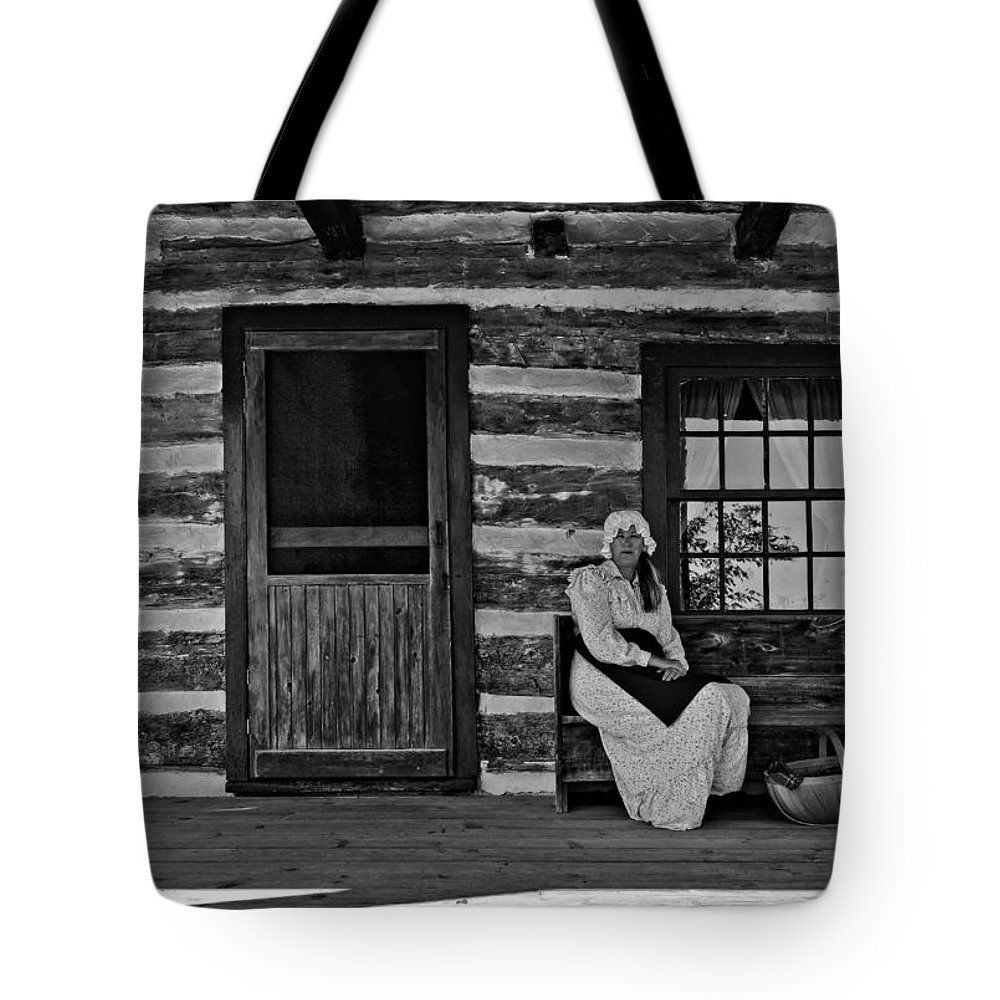 Grey Roots Museum & Archives Tote Bag featuring the photograph Canadian Gothic Monochrome by Steve Harrington