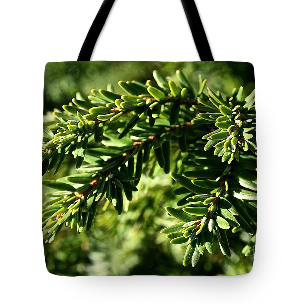 Outdoors Tote Bag featuring the photograph Canadian Hemlock Tips by Susan Herber