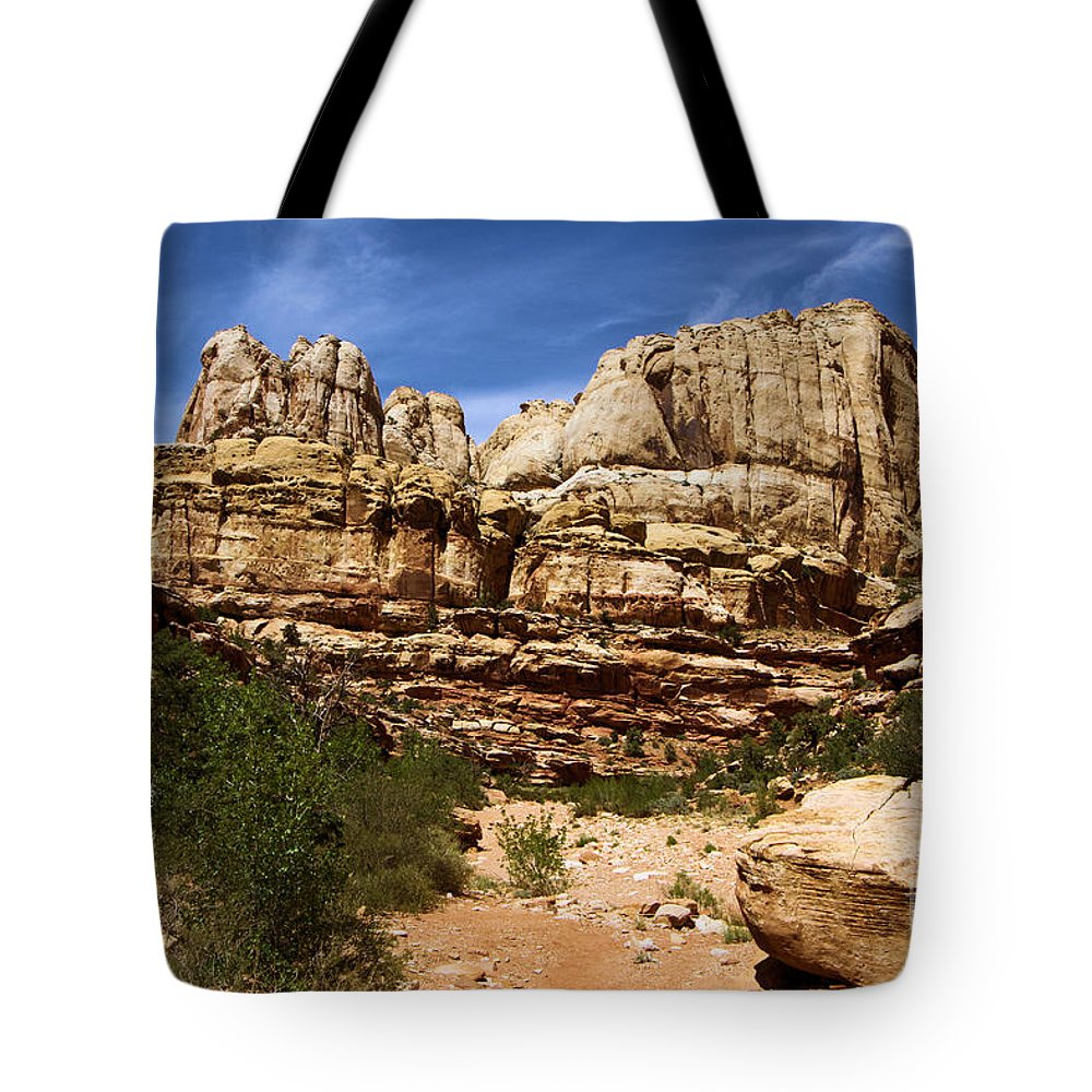 Capitol Reef National Park Tote Bag featuring the photograph Canyon Castle by Adam Jewell