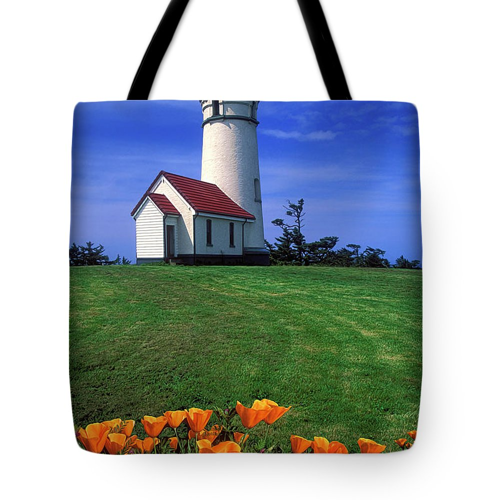 Cape Blanco Lighthouse Tote Bag featuring the photograph Cape Blanco Lighthouse Oregon by Dave Mills