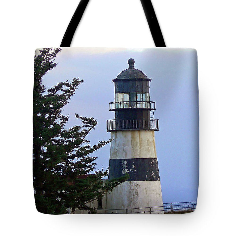 Lighthouse Tote Bag featuring the photograph Cape D Lighthouse by Pamela Patch