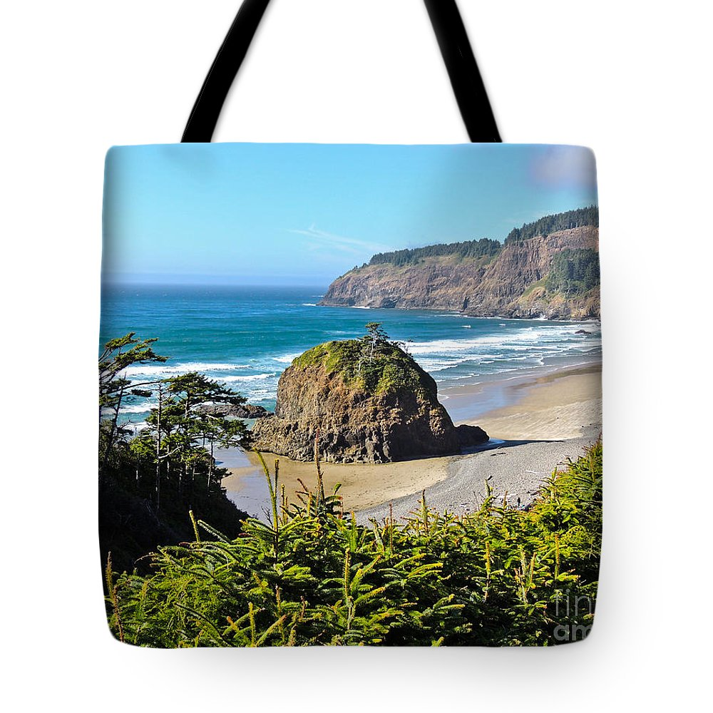 Oregon Coast Tote Bag featuring the photograph Cape Meares Lighthouse by L J Oakes