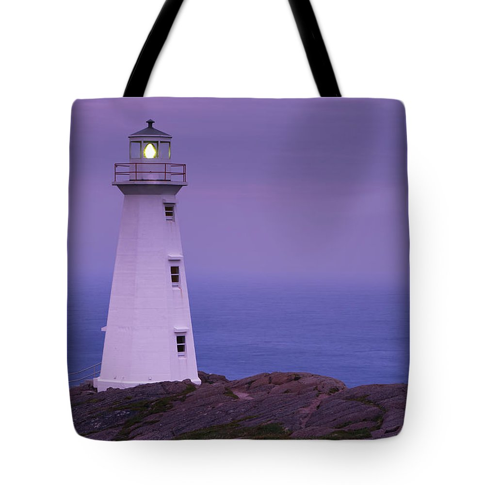 Cape Spear Tote Bag featuring the photograph Cape Spear Lighthouse At Twilight, Cape by Yves Marcoux