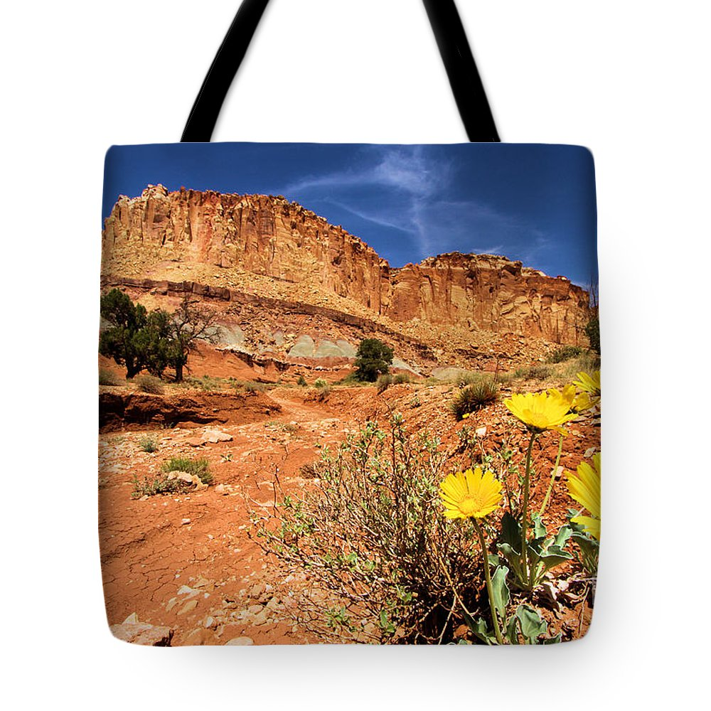 Capitol Reef National Park Tote Bag featuring the photograph Capitol Flower Garden by Adam Jewell