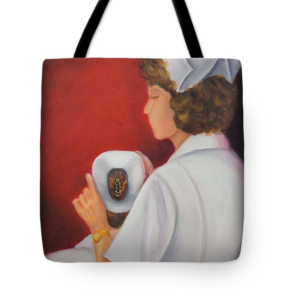 Nursing Tote Bag featuring the painting Capping A Tradition Of Nursing by Marlyn Boyd