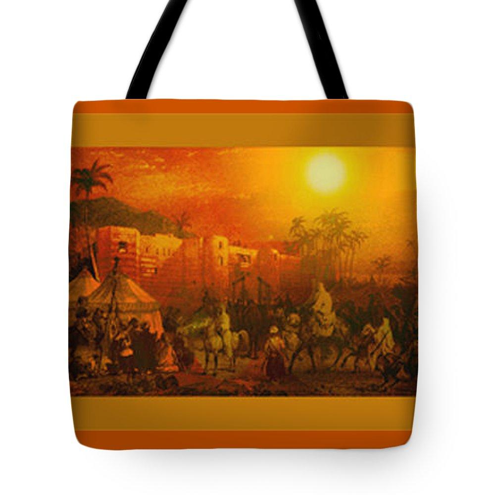 Caravan Tote Bag featuring the drawing Caravan by Paul Lee