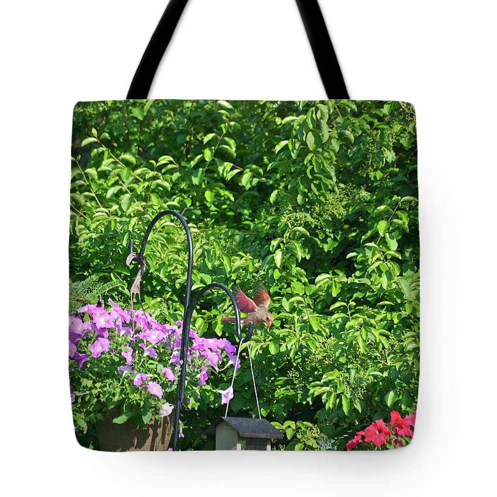 Animals Tote Bag featuring the photograph Cardinal Ready To Land by Thomas Woolworth