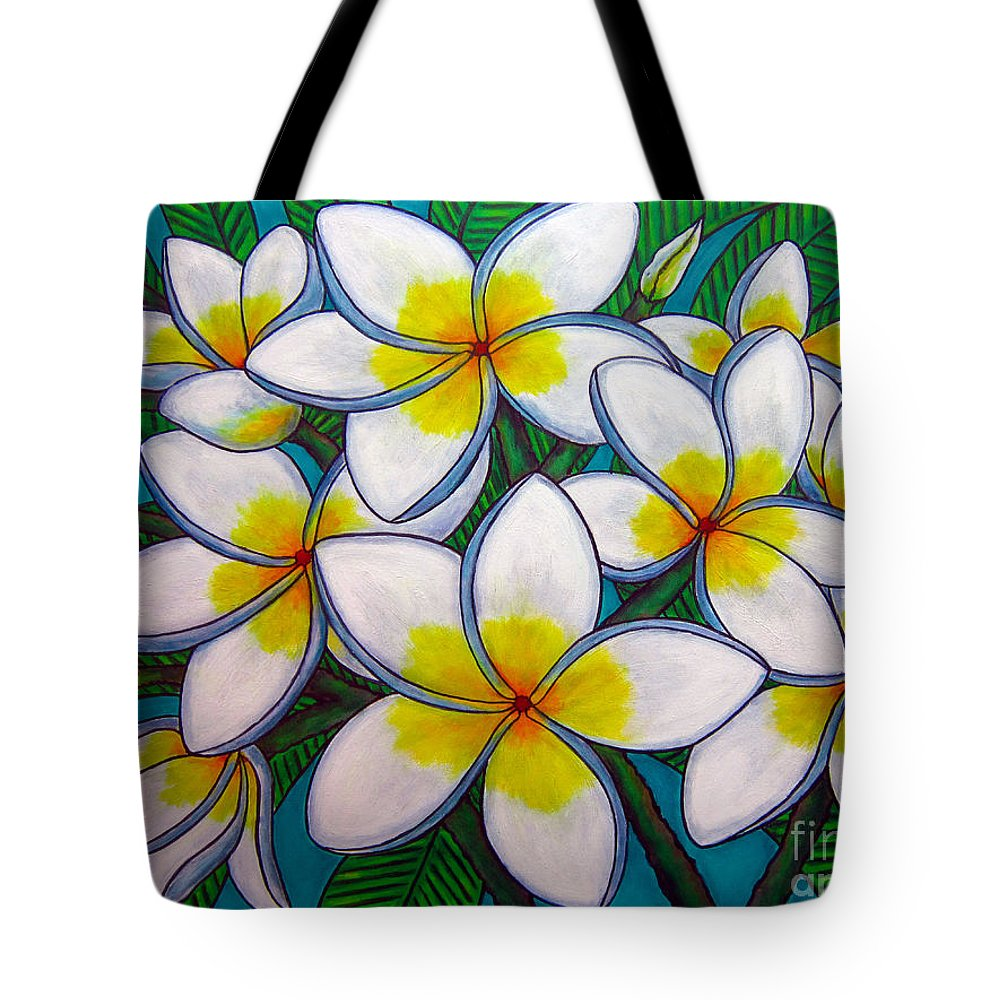 Frangipani Tote Bag featuring the painting Caribbean Gems by Lisa Lorenz