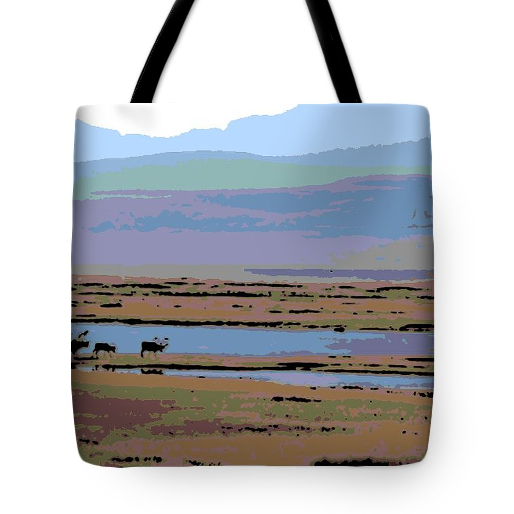 Caribou Tote Bag featuring the photograph Caribou On The Move by George Pedro
