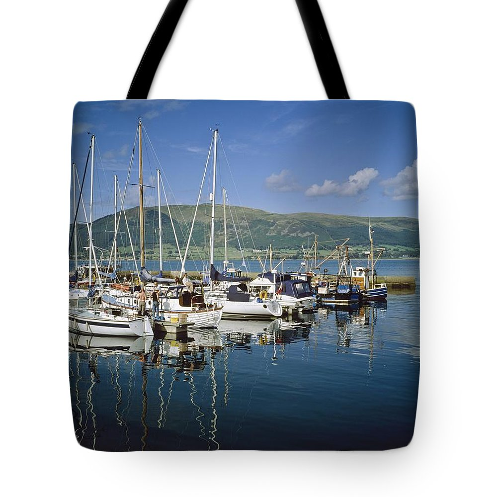 Blue Sky Tote Bag featuring the photograph Carlingford Yacht Marina, Co Louth by The Irish Image Collection