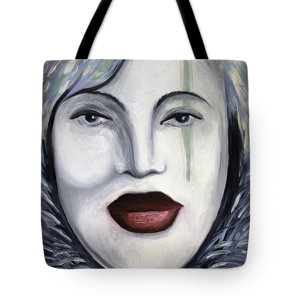 Mask Tote Bag featuring the painting Carnival 3 by Leah Saulnier The Painting Maniac