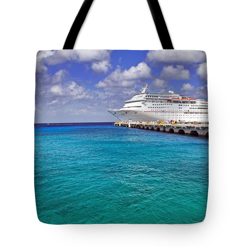 Cruise Tote Bag featuring the photograph Carnival Elation Docked At Cozumel by Jason Politte