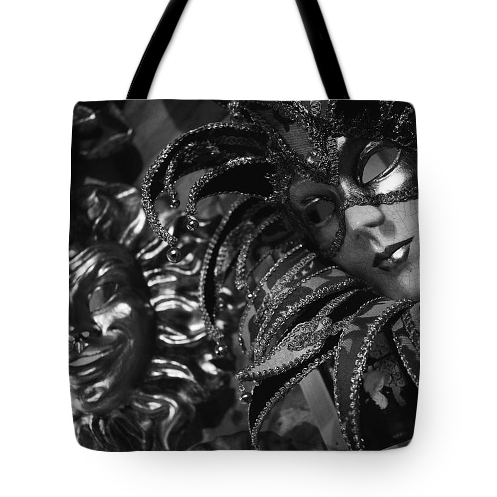 Europe Tote Bag featuring the photograph Carnival Masks In Black And White by Todd Gipstein