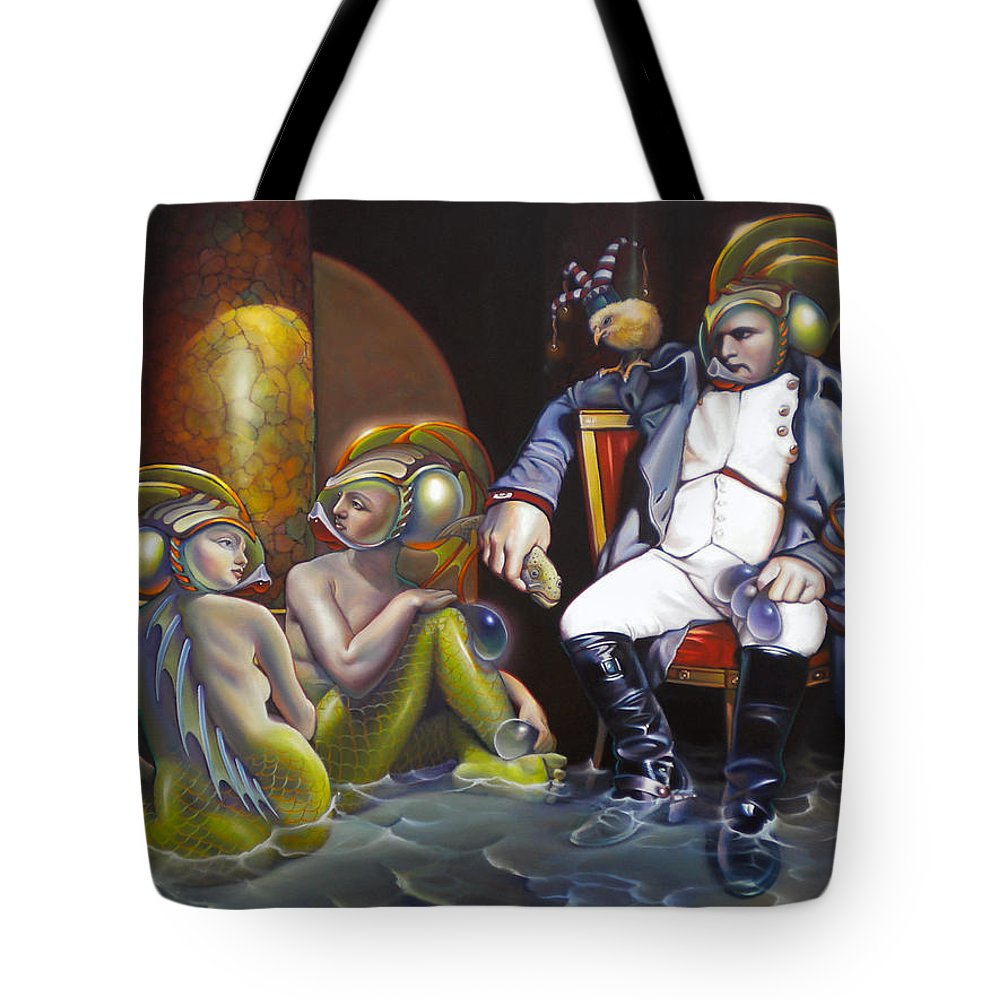 Mermaid Tote Bag featuring the painting Carpoleon Bonafish by Patrick Anthony Pierson