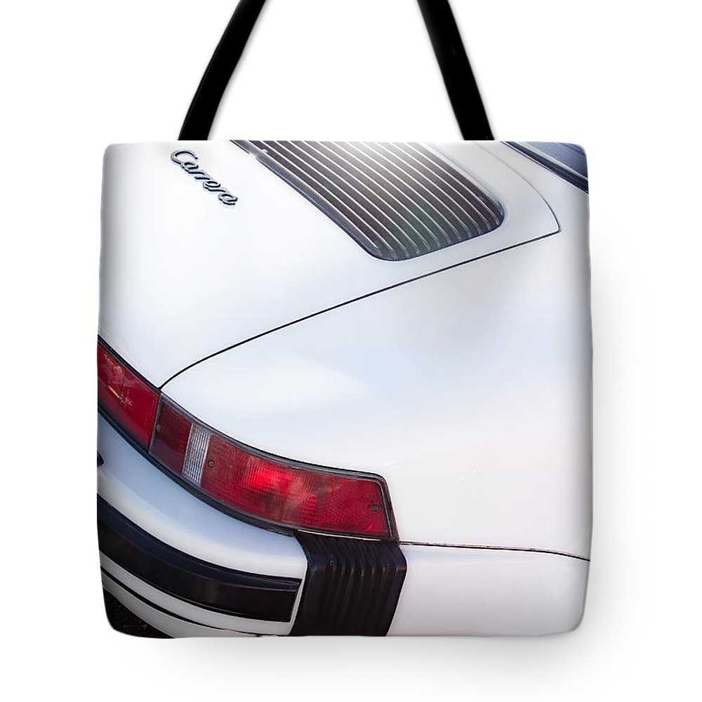 Automobiles Tote Bag featuring the photograph Carrera Porsche White Backend by James BO Insogna