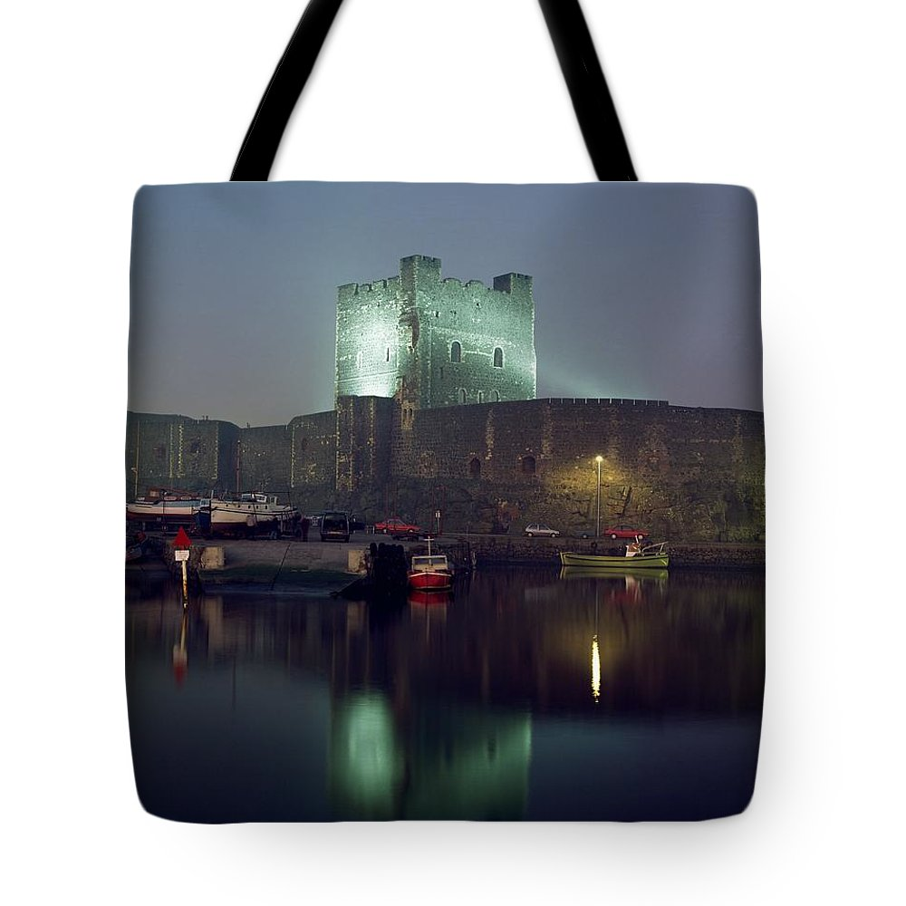 Archaeology Tote Bag featuring the photograph Carrickfergus Castle & Harbour, Co by The Irish Image Collection