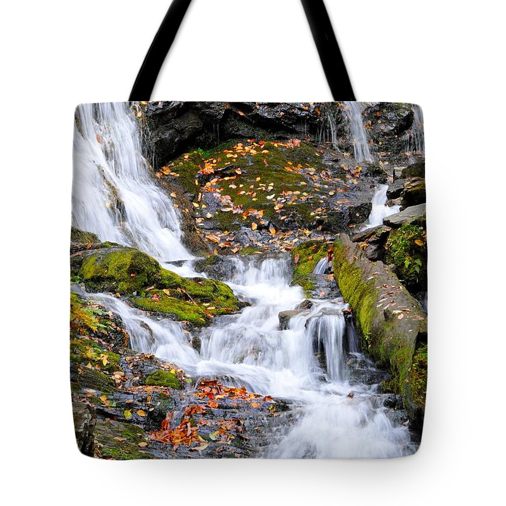 Fall Tote Bag featuring the photograph Cascades At Mingo Falls by Lynn Bauer