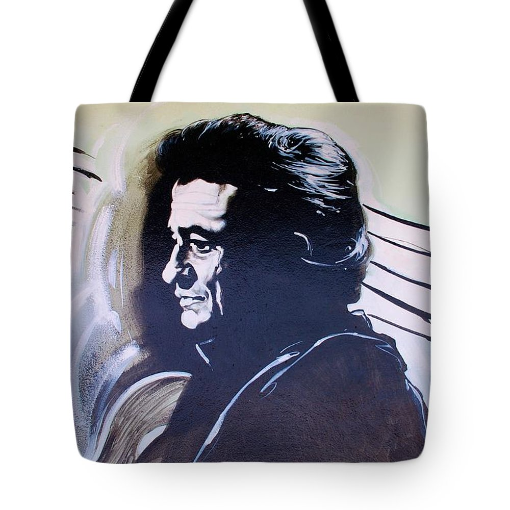 Johnny Cash Tote Bag featuring the photograph Cash by Rob Hans