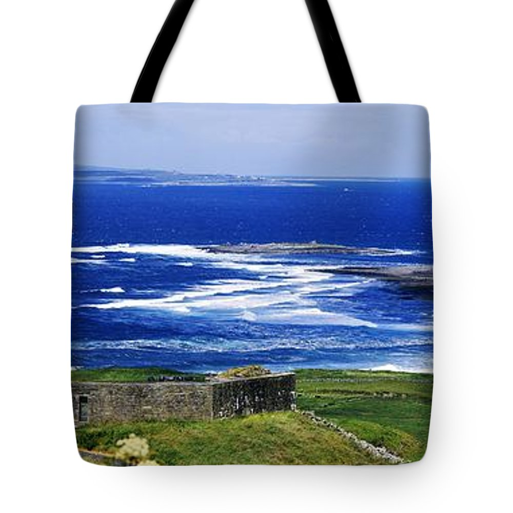 Building Exterior Tote Bag featuring the photograph Castle On The Coast, Doonagore Castle by The Irish Image Collection