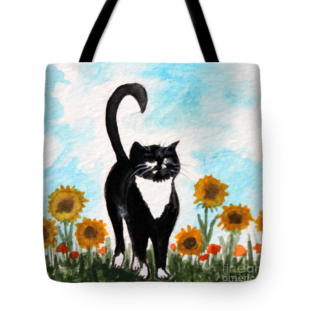 Cat Tote Bag featuring the painting Cat Walk Through The Sunflowers by Elizabeth Robinette Tyndall