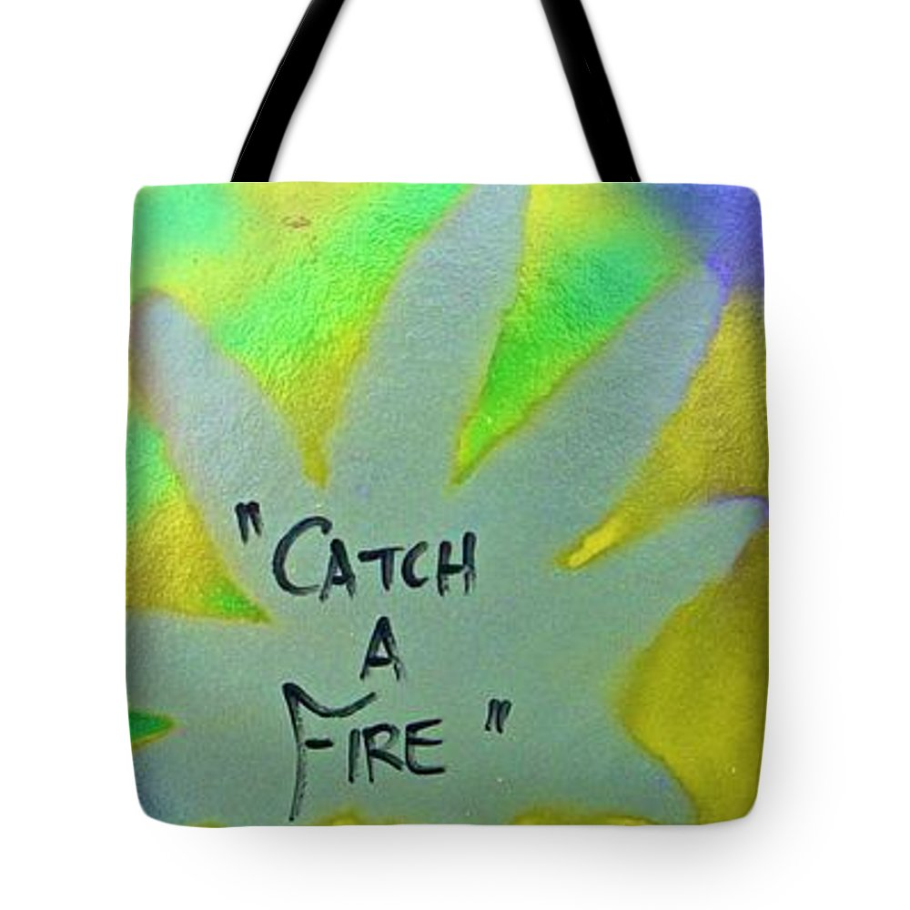 Hip Hop Tote Bag featuring the painting Catch A Fire by Tony B Conscious
