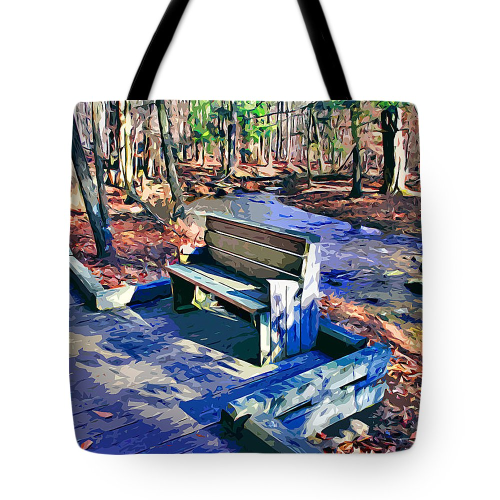 Catoctin Mountain Park Tote Bag featuring the digital art Catoctin Bench by Stephen Younts