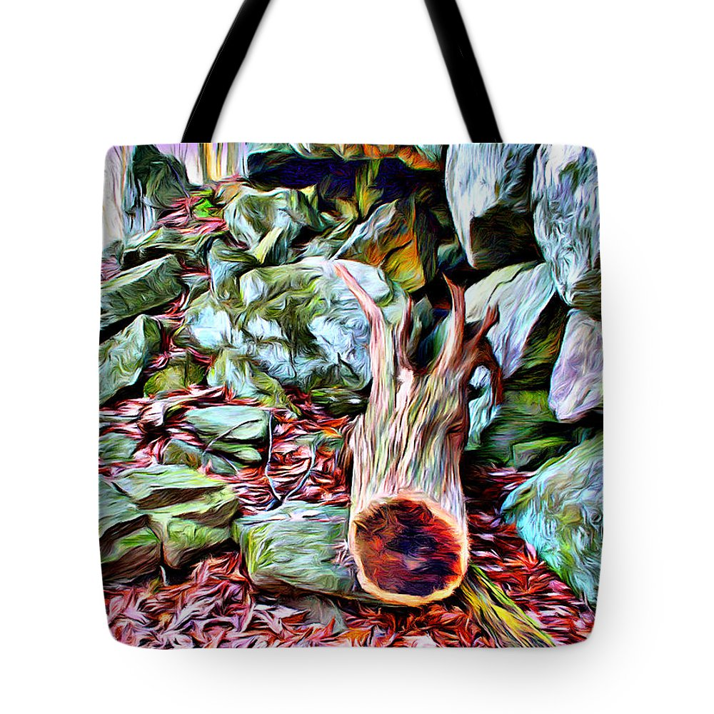Catoctin Mountain Park Tote Bag featuring the digital art Catoctin Cliff Trail by Stephen Younts