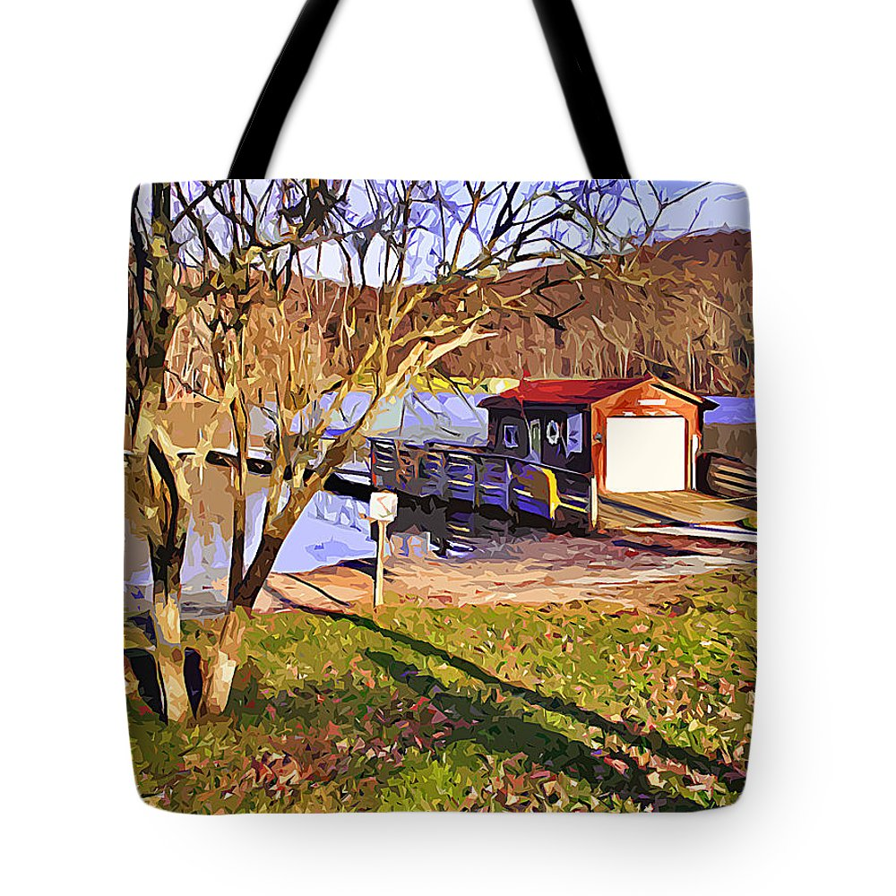 Catoctin Mountain Park Tote Bag featuring the digital art Catoctin Lake Boathouse by Stephen Younts