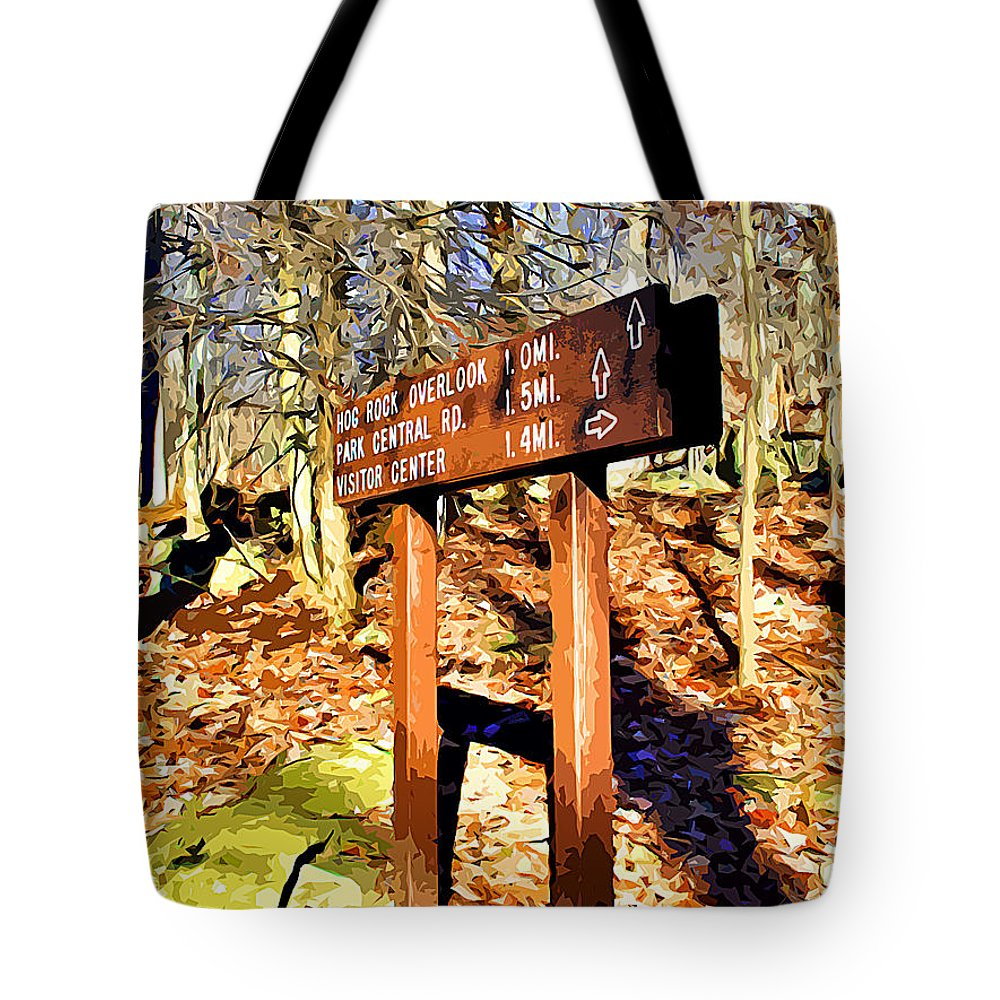 Catoctin Mountain Park Tote Bag featuring the digital art Catoctin Trail Sign by Stephen Younts